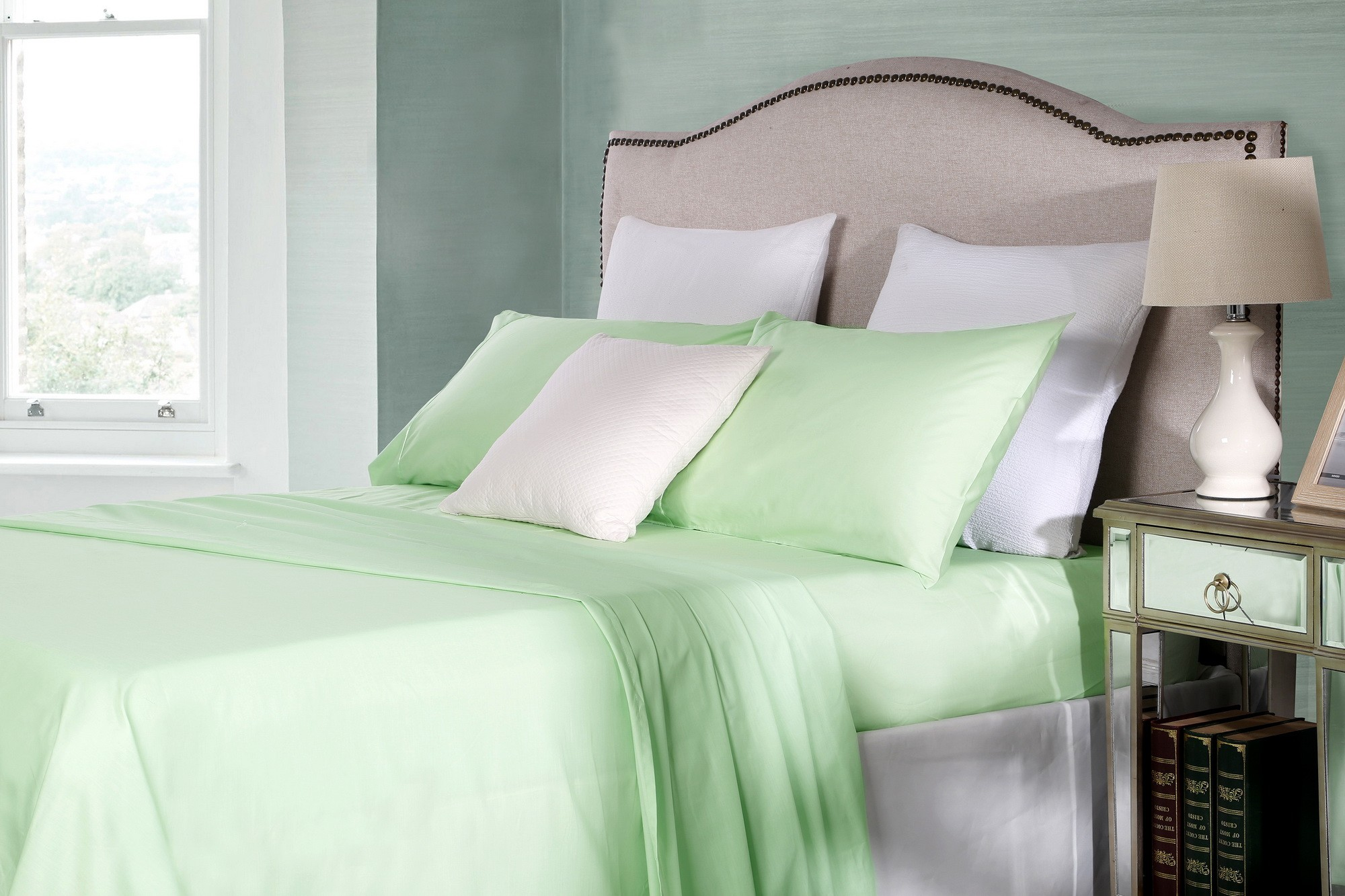 Cotton Rich King Sheet Sets 250TC Percale Soft Mint