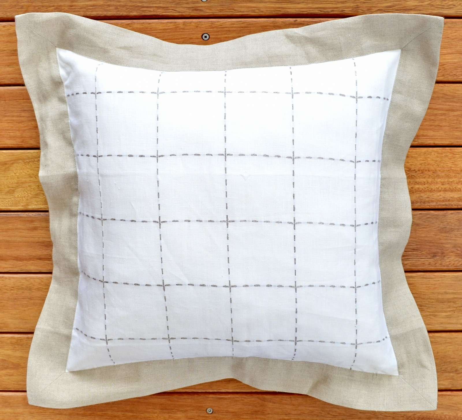 "Pure Linen Cushion Cover 22""/55 x 55 cm White with Gray Ham and Stitched Grills"