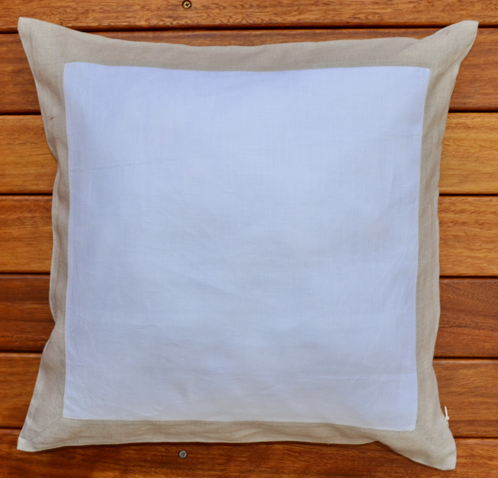 "Pure Linen Cushion Cover 18""/45 x 45 cm Gray Border"