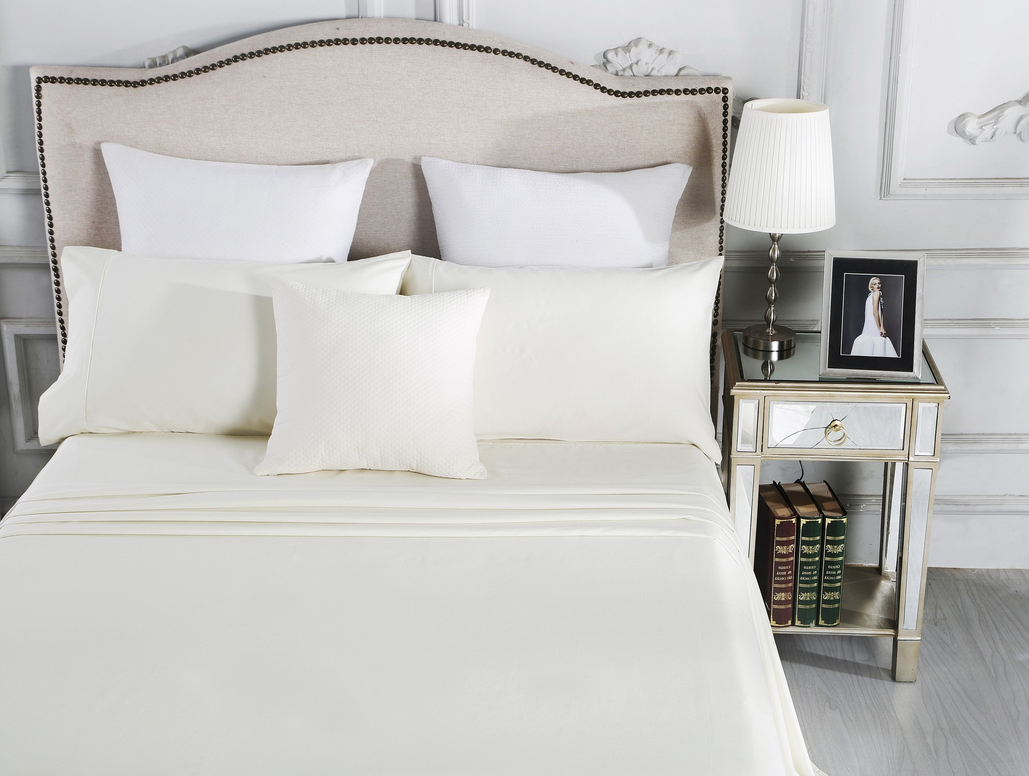 Luxury 1800TC Cotton Rich King Sheet Sets Ivory