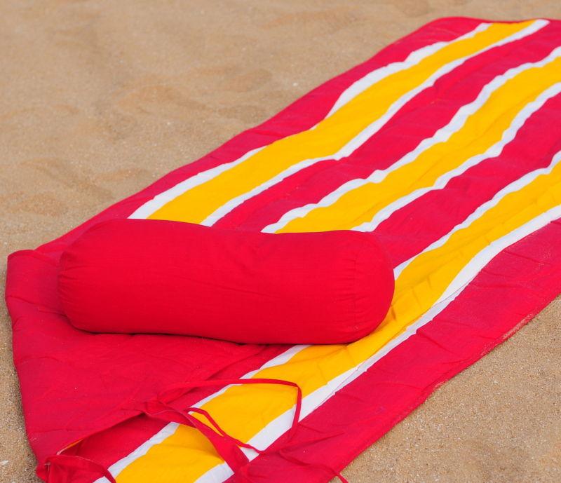 Beach Towel and Roll Up Beach Mat + Neck Roll Pillow Dynamic Wave