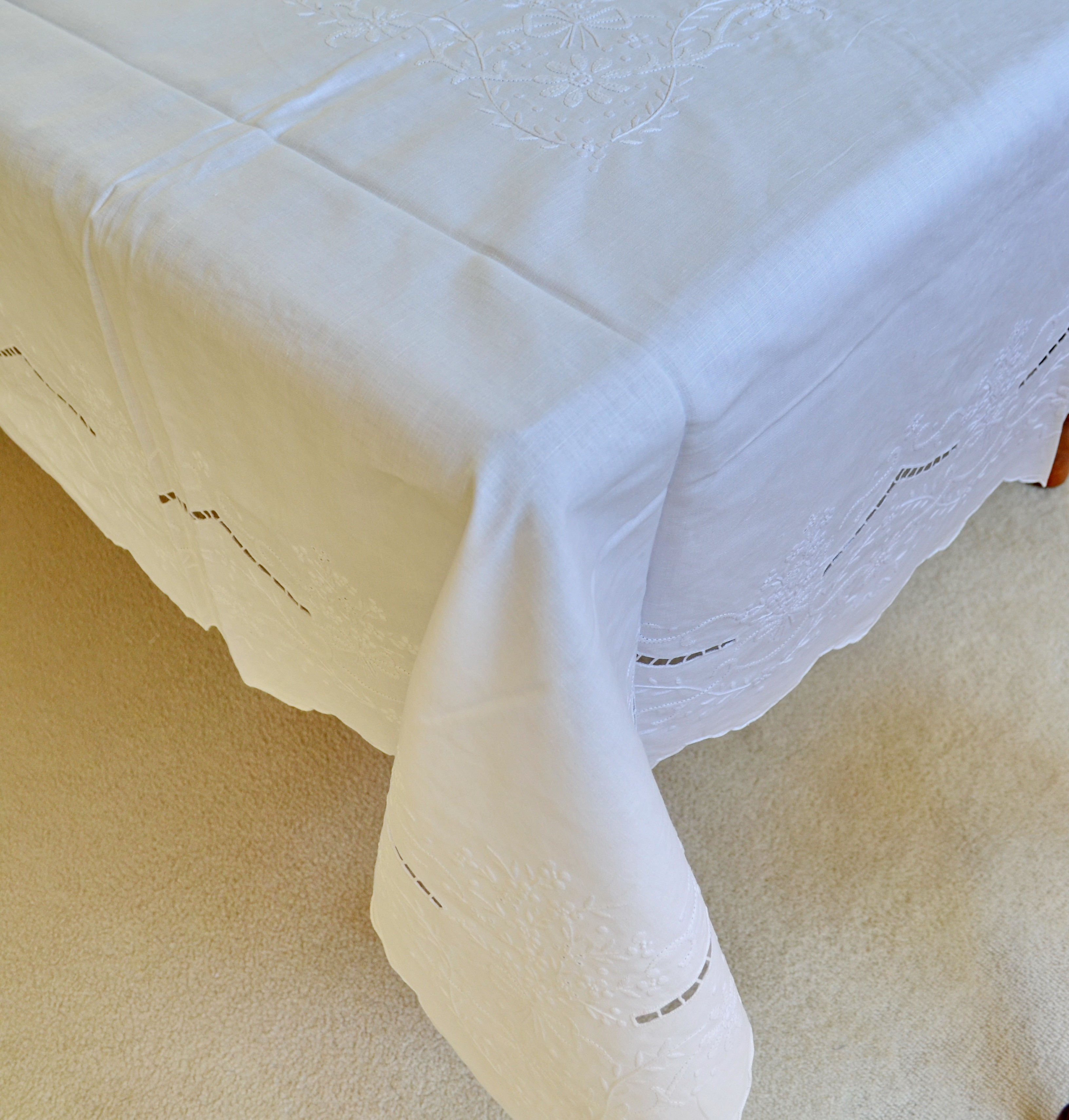 Handmade Pure LinenTablecloth Set 72 x 108 Inches