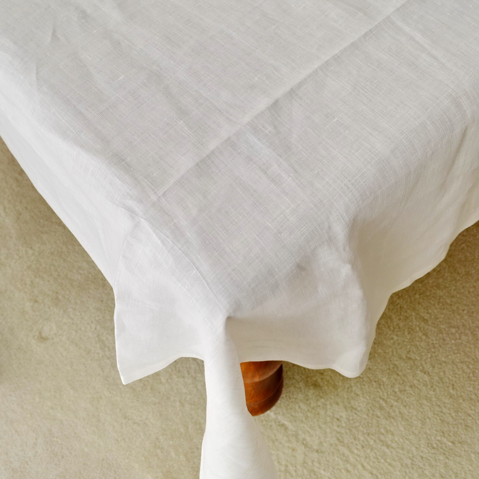 Pure Linen White Tablecloth 90/108/126/144 inches Banquet Tablecloth