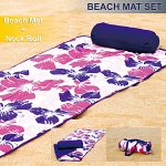 Roll-Up Reversible Beach Mat with Neck Pillow Purple Flower